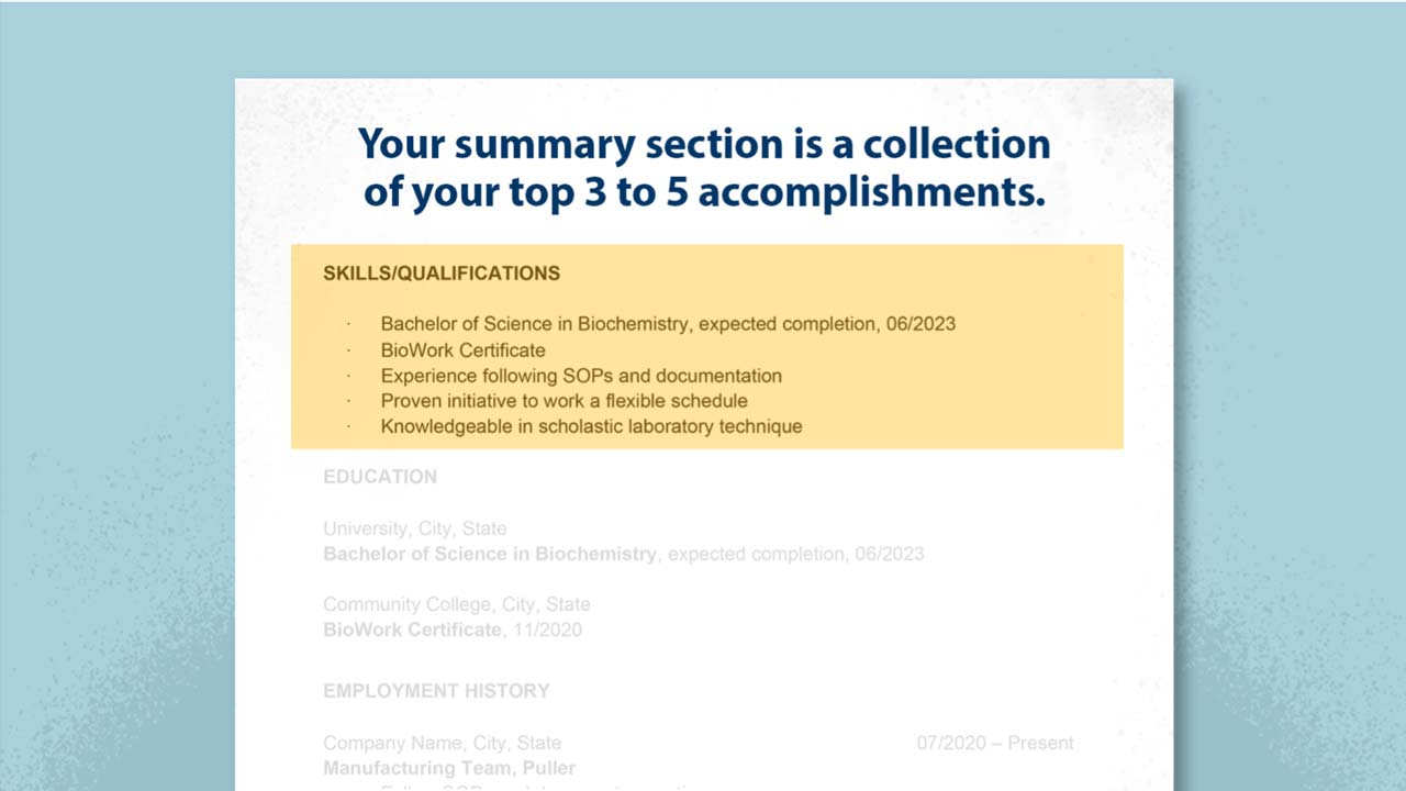 Creating Your Biopharma Resume: Part 5 – Creating a Summary Section