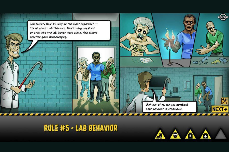 Zombie College The 5 Rules Of Lab Safety Ncbionetwork Org